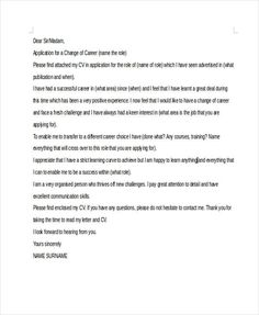 new career cover letter Career Change Cover Letter - Free Sample, Example Format . Job Cover Letter, Cover Letter Example, Cover Letter For Resume, Cover Letter Template, Letter Templates, Cover Letters, Career Change, New Career, Career Path
