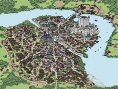 Old city of Milbridge, around the time end of the rule of Don Camilo II the Magnificent. In the illustration can be seen, from top to bottom: The Kingsm. Millbridge, 2419 a. Fantasy City Map, Fantasy Town, Fantasy World Map, Fantasy Castle, Fantasy Places, Medieval World, Medieval Town, Castle Layout, Rpg Map