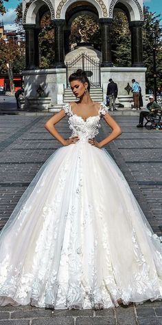 pollardi wedding dresses ball gown sweetheart cap sleeves floral embroidered #ClassicWeddingIdeas