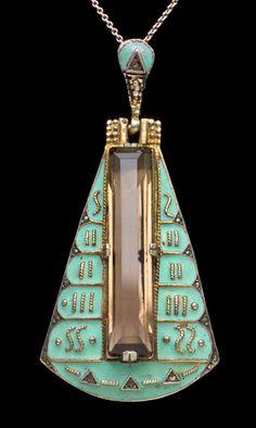 THEODOR FAHRNER  Art Deco Pendant   Gilded silver Enamel Smokey Quartz Marcasite  Egyptian revival,  German, c.1930