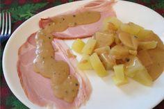 Jambon de montagne sauce madère et son écrasé de pommes de terre