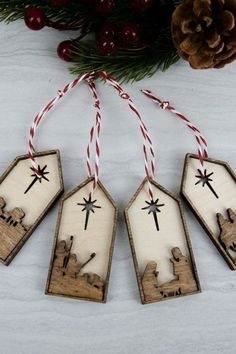 Wooden Tree Ornaments (Set of 40 - striking stained wooden Christmas tree decorations, these nativity ornaments really do look stunning as part of traditional Christmas decorations. A fantastic way to remember 'the reason for the season', these Jesus ornaments are tasteful and simple enough as Scandinavian Christmas decorations as well. | £12.00 | Made by Birch and Tides | Cheerfully Given - Christian Christmas Decorations 2019