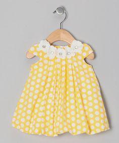 Yellow Polka Dot Floral Dress - Infant & Toddler