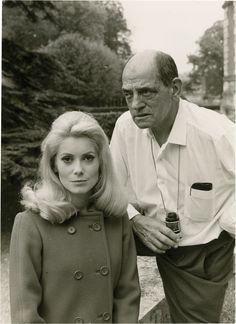 """Catherine Deneuve & Luis Buñuel on the set of """"Belle de Jour"""""""