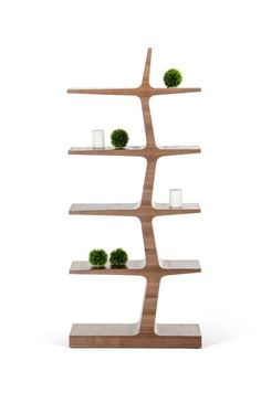 """Modrest Timber Modern Walnut Bookcase. Five levels on the Timber Walnut Bookcase allow for ample display space. The walnut wood veneered bookcase features a slightly bended design, resembling a tree, to create a visually interesting design that could soon become one of your favorite pieces in your home. Dimensions: W30"""" x D14"""" x H67"""" Color: Brown Finish:  Veneer -"""