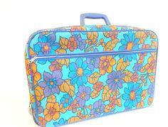 """Vintage Mod Soft-Side Floral Suitcase 14""""H x 20""""W - http://oleantravel.com/vintage-mod-soft-side-floral-suitcase-14h-x-20w"""