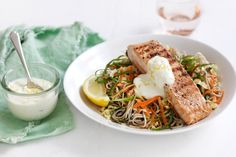 This Japanese-inspired salmon with noodle slaw and spicy wasabi mayo is a clever dinner idea.