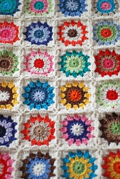Granny square crochet blanket- so light and vibrant. Makes me want to dance.