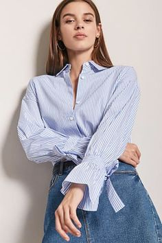 Pinstripe Self-Tie Cuff Shirt
