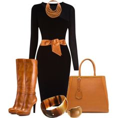 """Cognac & Black"" by mharvey on Polyvore"