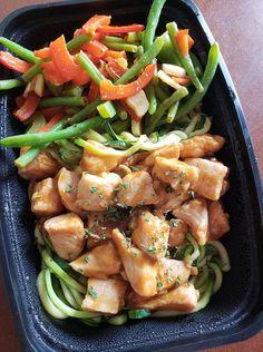 Honey Sriracha Chicken with Spiralized Zucchini Noodles  -- Evensen Personal Menus