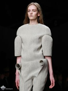 Sculptural Fashion with rounded construction & 3D curled fabric, like rolled up parchment; experimental fashion deign // Viktor Smedinge