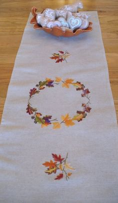 Table Runner Wreath of Leaves in Autumn Colors by embrant on Etsy, $40.00