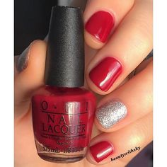 Today's nails feel a bit Christmassy to me but I'm okay with that because these colours together are gorgeous! ❤️ @opi_products - malaga red & its frosty outside  #beautywithsky #staypolished #manicure #nails #nailstagram #nailswag #instanails #instalike #nailsoftheday #notd #potd #instabeauty #instadaily #beauty #nailpolish #nailsnailsnails #ignails #nailsdone #instafollow #nailsofig #nailsofinstagram #opi