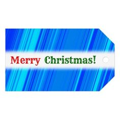 """Merry Christmas!""; Blue and Cyan Lines Pattern Gift Tags"