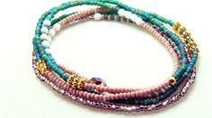 Multi wrap Czech seed bead bracelet anklet necklace by JewelRiot, $26.00