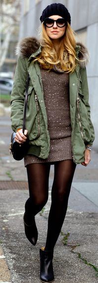 Sparkles and anorak.