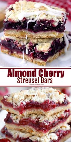 Almond Cherry Streusel Bars are sweet and buttery with a homemade cherry filling.These Almond Cherry Streusel Bars are sweet and buttery with a homemade cherry filling. Cherry Desserts, Köstliche Desserts, Cherry Recipes Breakfast, Desserts With Cherries, Cherry Pie Recipes, Blackberry Bars Recipes, Easy Yummy Desserts, Dessert Simple, Dessert Banana Split