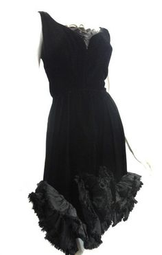 Black Velvet Mini Cocktail Dress w/ Ruffles circa 1960s - Dorothea's Closet Vintage