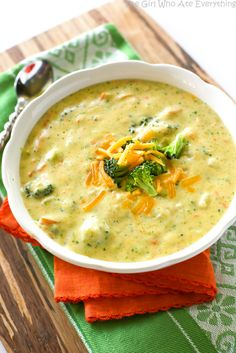Tried on DELISH! you've never had the Panera's Broccoli Cheddar Soup you're missing out. This recipe tastes just like it! Creamy broccoli cheddar soup is comfort food at its best. Vegetarian Recipes, Cooking Recipes, Healthy Recipes, Keto Recipes, Healthy Soups, Simple Recipes, Cheddar Soup Recipe, Brocolli Cheese Soup Panera, Broccoli Soup Recipes