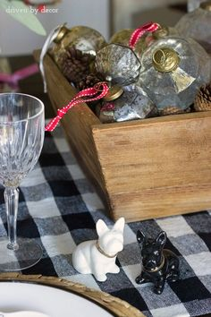 French bulldog salt and pepper shakers are a cute part of this festive holiday table