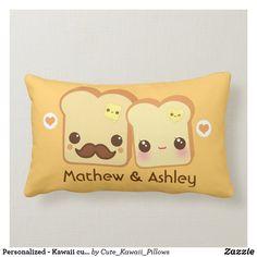 Shop Personalized - Kawaii cute toasts couple Lumbar Pillow created by Cute_Kawaii_Pillows. Lumbar Pillow, Throw Pillows, Disney Images, Valentine Day Gifts, Valentines, Kawaii Cute, Custom Pillows, Toast, Bread