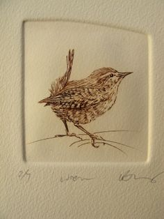 Wren.+Tiny+bird+drypoint+etching++brown+on+by+LynnBaileyPrintmaker,+£30.00