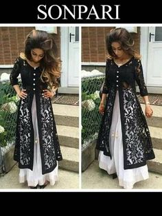 Buy Bollywood Style Black & White Front Slit Lehenga online in India at best price. Pakistani Dresses, Indian Dresses, Indian Outfits, Lace Dresses, Mode Abaya, Mode Hijab, Outfit Essentials, Indian Attire, Indian Wear