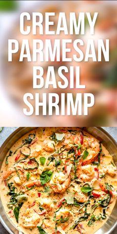 Creamy Parmesan Basil Shrimp recipe | Easy shrimp recipe | Shrimp Alfredo | Shrimp pasta | Italian Shrimp Recipe | Dinner recipe | Keto shrimp recipe | Olive garden | How to cook shrimp | Low carb shrimp recipe
