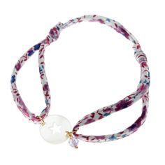 Bracelet femme, nacre 2,05 ct, oxyde de zirconium 0,90 ct Bracelet liberty Etoile #LeManegeABijoux