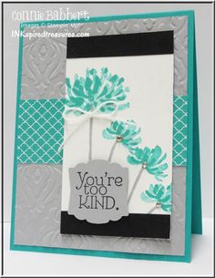 handcrafted greeting card from InkspiredTreasures.com color challenge: Create with Connie and Mary #262 ... black and white with dove gray and aquas ... like the watercolor look of the double stamped flowers ... looks like a Japanese brush painting with the black bands top and bottom ... rich embossing folder baroque texture on gray base panel ... delightful card!!