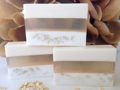 This soap is made with a layer of goats milk soap, a layer of honey glycerin, and a layer with oatmeal. Scented with Oatmeal, Milk & Honey fragrance oil. Contains organic oatmeal and vitamin E oil. A great choice for those who like a more natural type of soap. This soap contains no added dyes or colorants. Each bar is approx. 4.5 ounces and measures 2.25h x 3.5w. Ingredients: coconut oil, palm oil, safflower oil, glycerin (kosher, of vegetable origin), goats milk, honey, purified water,...