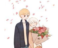 Cartoon Drawings, Cartoon Art, Cute Drawings, Character Art, Character Design, Cute Art Styles, Dibujos Cute, Korean Art, Couple Art