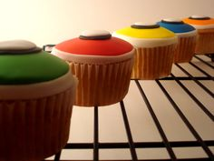 """Classic Geek Gear Cupcakes Are you gonna eat that pocket protector? """"Frogger"""" Cupcakes You can jump onto the log, or… y'know… just eat it. Neon Cupcakes, Cute Cupcakes, Cupcake Cakes, Video Game Cakes, Rock Star Party, 14th Birthday, Birthday Cakes, Birthday Ideas, Just Eat It"""