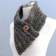 Hand knit infinity scarf in gray with multi-color accents