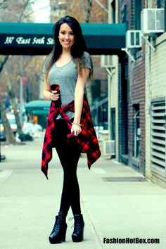 Plaid Flannel, Leather leggings, platform Litas