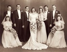 What a captivatingly beautiful 1940s wedding party group photo. #wedding #vintage #retro #bride #groom #portrait #couple