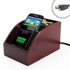 Charging Station Organizer | SpaceSAVER Wooden Charging Station & Organizer for Smartphones & MP3 ...