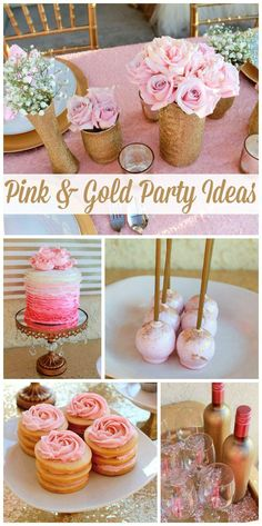 A pink and gold birthday with a gorgeous ruffle ombre cake, rose cookie stacks and sparkling decorations! See more party ideas at CatchMyParty.com! #bridalshower