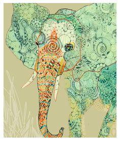 "Print of An Original Ink Drawing- ""Slon"". $23.50, via Etsy."