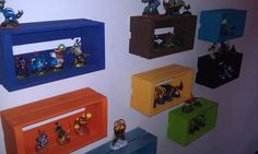 Got Skylanders? This is what my son and I developed to organize and store his Skylanders. Color coded to match each type! ~ could make with the crates found at walmart and add a shelf in the middle. Boys Room Decor, Boy Room, Kids Bedroom, Bedroom Decor, Bedroom Ideas, Toy Organization, Kid Spaces, Decoration, Getting Organized