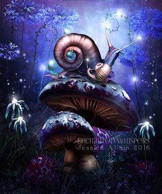 fantasy nursey decals | nursery room decor, fantasy snails art, whimsical art print, cute ...