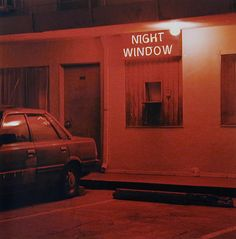 Night Window, Los Angeles, CA, 2000 Photographer Jeff Brouws (via Artsy) Red Aesthetic Grunge, Night Aesthetic, Orange Aesthetic, Rainbow Aesthetic, Aesthetic Colors, Aesthetic Collage, Aesthetic Vintage, Aesthetic Pictures, Aesthetic Pastel