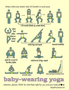 I love this chart, showing great yoga poses you can do with your baby! This babywearing yoga series is a fantastic way to keep up with a regular practice (or start one!) after baby. As an added bonus, your baby gets an early intro to the deep connection that yoga brings, through his connection to you!   -Colleen at WrapsodyBaby.com