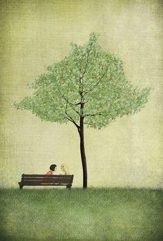 Bajo el árbol de cerezo  verano  ilustración impresión por majalin, kr110,00