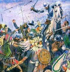 Aztecs fighting their Spanish conquerors.