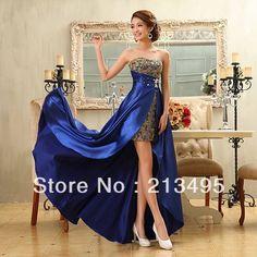 colorful long vestidos de fiesta 2014 sweetheart short front long back blue sexy prom dress formal high low hi-lo dresses W975 US $61.90 - 73.90