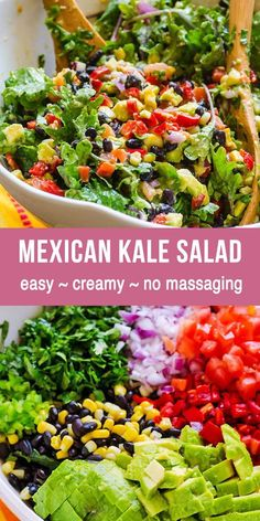 Creamy Mexican Kale Salad with raw kale black beans corn cilantro and creamy cum. Creamy Mexican Kale Salad with raw kale black beans corn cilantro and creamy cumin flavoured avocad Mexican Salad Recipes, Mexican Salads, Green Salad Recipes, Summer Salad Recipes, Healthy Salad Recipes, Summer Salads, Raw Food Recipes, Vegetarian Recipes, Cooking Recipes