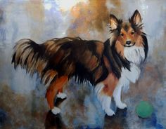 """Mocha the Sheltie: 13"""" x 16"""" fine art giclee print on heavy watercolor paper with hand torn edges. Giclee print on heavy watercolor paper of an original painting."""