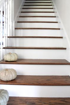 Stair Makeover Treads and Risers Exposed Painted Stair Risers, Wood Stair Treads, Treads And Risers, Wooden Staircases, Wooden Stairs, Stairways, Spiral Staircases, Stair Makeover, House Stairs